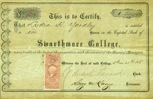 Swarthmore Stock Certificate