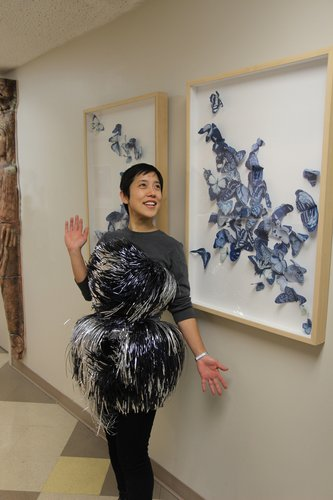 Professor Tomoko Sakomura wearing a Jia Kim '11 dress.