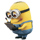 Minion reading with tongue stuck out in concentration