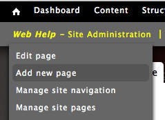 Add a new page can be found under the main site administration menu