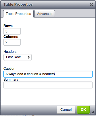 Create table dialogue allows adding headings, captions, table summaries and classs