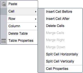 Cell dialogue allows inserting new cells before or after, splitting the cell horizontally or vertically, and manipulating the properties of the chosen cell