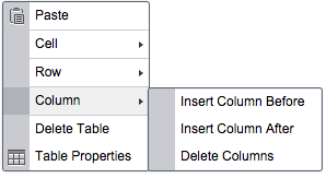 Insert a column before or after the chosen column, or delete it