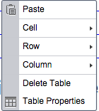 from with the table, right click to open the table context menu