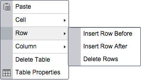 insert rows before or after the chosen row or delete the chosen row