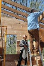 Professors Randall Exon and Tomoko Sakomura at construction site of Oxbow, Crum Woods.