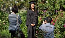 student in rose garden