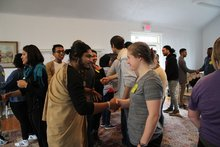 Greeting each other at Kayhan Irani workshop