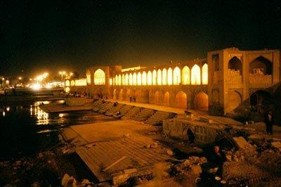 Isfahan Bridge at night