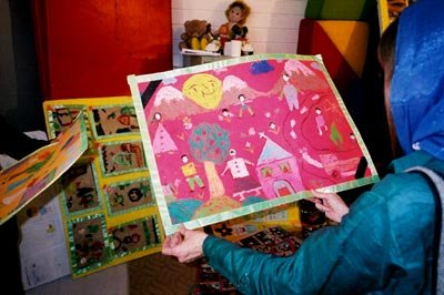 Children's artwork on display at the First International Children's Festival at Kerman