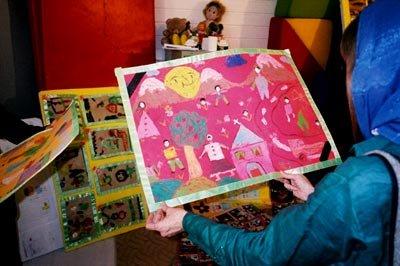 Children's artwork on display at the First International Children's Festival at Kerman