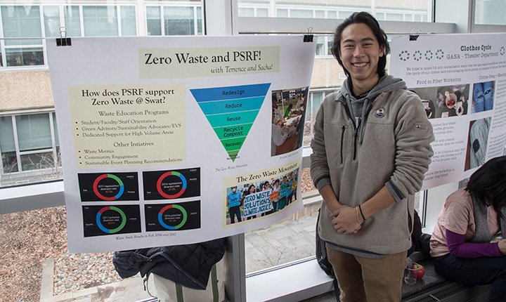 Student with sustainability poster