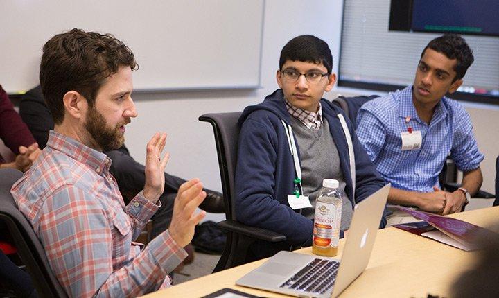 Students at a meeting at Google