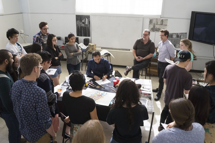 Students and faculty gather for calligraphy demo