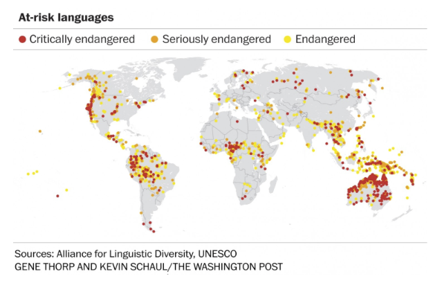At Risk Languages Map