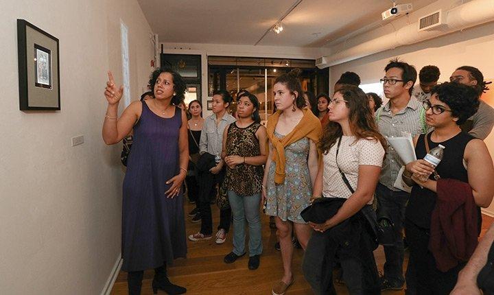 A class meets in a Philadelphia art gallery