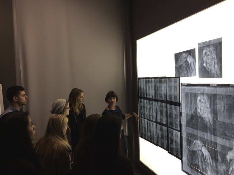 Art History class trip to behind-the-scenes conservation at the Philadelphia Museum of Art