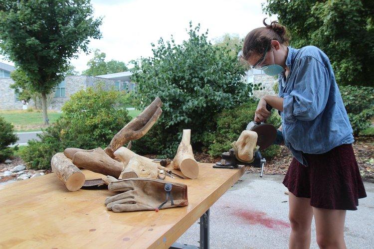 Sculpture student at work.