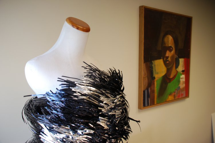 Jia Kim '11 twist-tie dress, and Njideka Akunyili Crosby '04, Self Portrait.