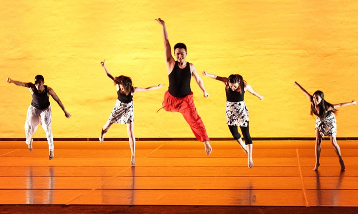 Dancers perform in the Lang Performing Arts Center