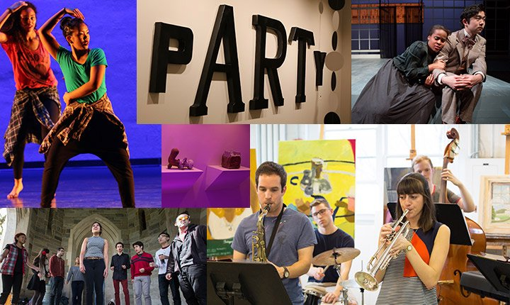 A collage of students singing, playing instruments, acting, dancing, and displaying art