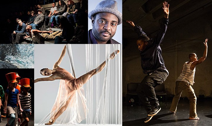 A collage of images from dance performances, a theater production, and a portrait of a man