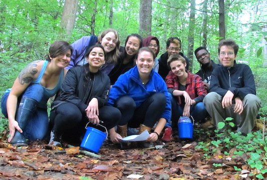Microbial Ecology class in the crum woods