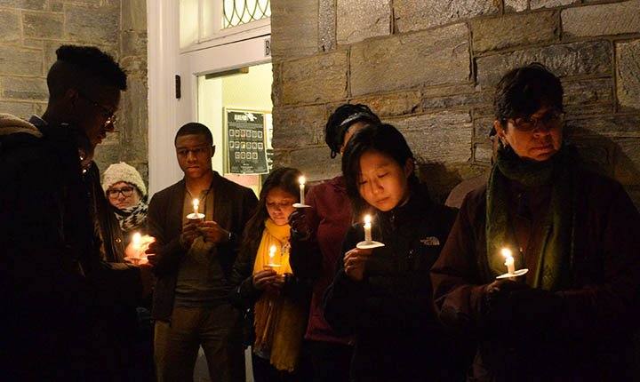 Students and faculty of Swarthmore College gather for a vigil honoring Martin Luther King Jr.