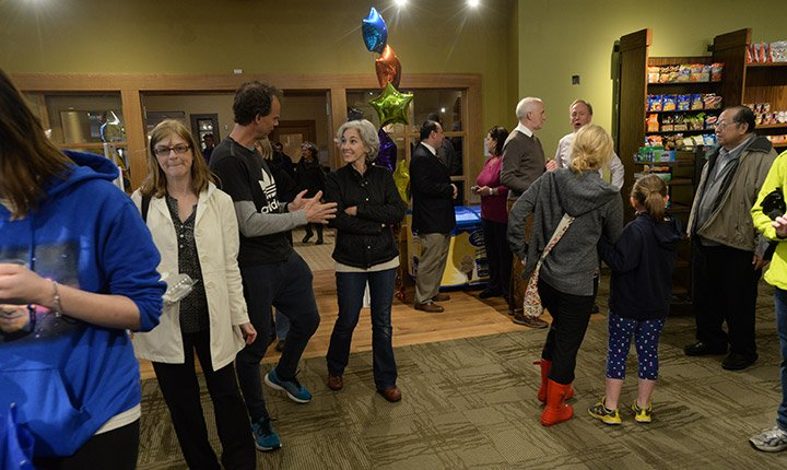 People entering the new Campus and Community Store