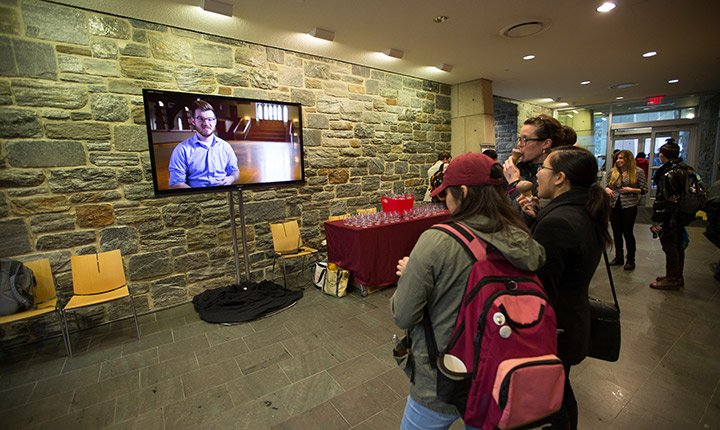 Students watch the campaign video
