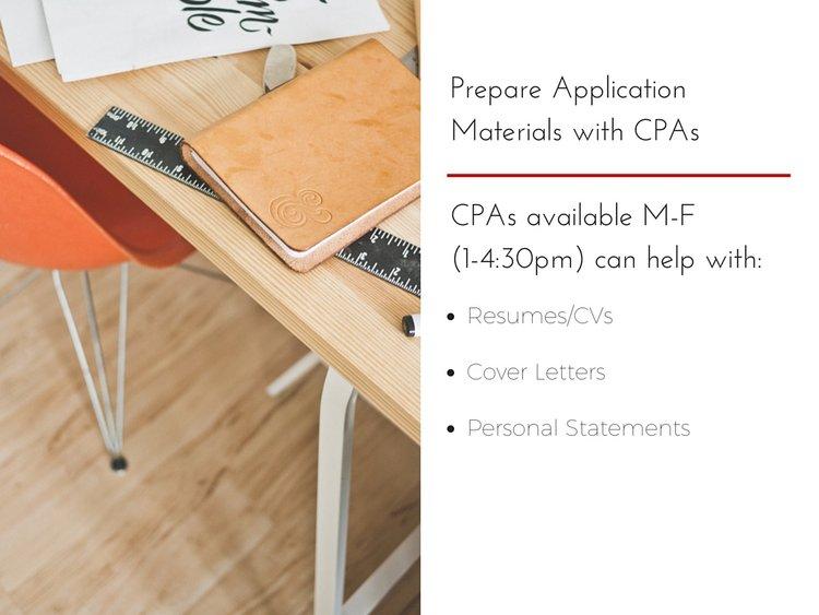 prepare application materials with career peer advisers