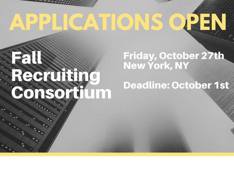 Applications open fall recruiting consortium friday october 27th new york new york deadline october 1st