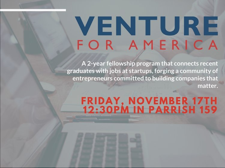 venture for america friday november 17th 12:30pm parrish 159