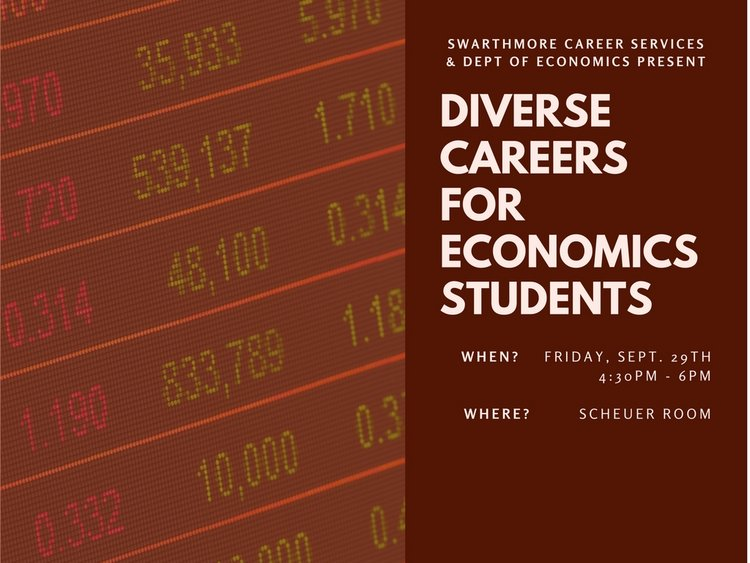 diverse careers for economics students friday september 29 4:30pm Scheuer