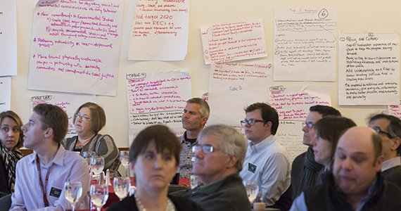 Participants seated below brainstorming posters