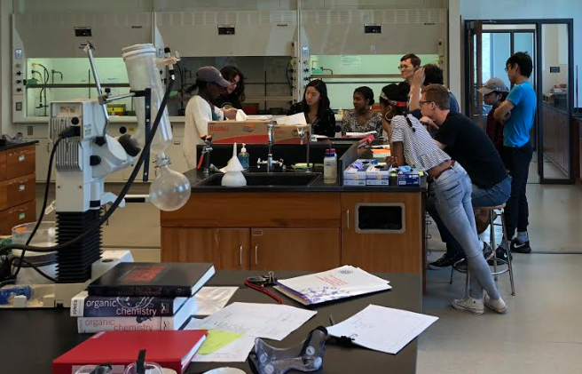 Orgo I lab having a round table discussion about their unknown compounds.