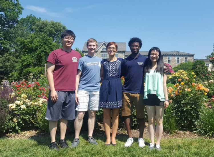 Allan Gao '19, Barrett Powell '18, Professor Yatsunyk, Deondre Jordan '19, Yingqi Lin '20