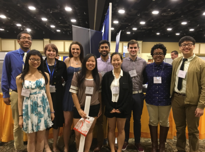 Left to right. Back row. Aaron Holmes '18, Mackinsey Smith '19, Hayley Raymond '18, Arka Rao '18, Henry Wilson '18, Laela Ezra '19, Allan Gao '19. Front row. Linda Lin '20, Elise Kim '18, and Linda Lee '18. Not pictured, Audra Woodside '19.