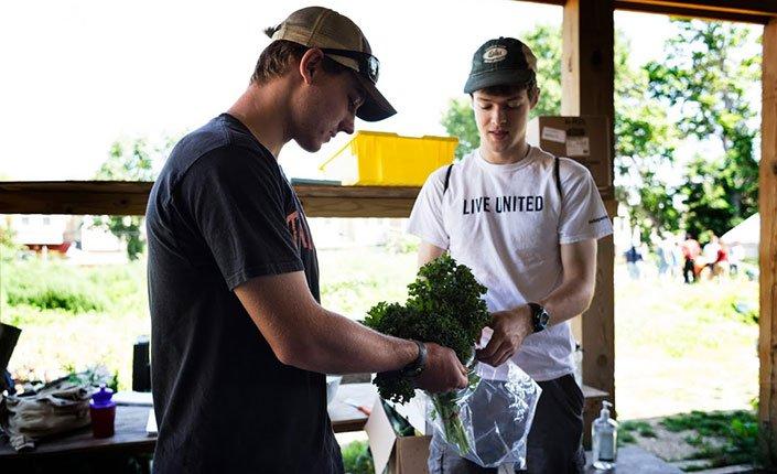 Students bag vegetables