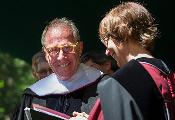 Honorary degree recipient Thomas Laqueur '67 and President Rebecca Chopp
