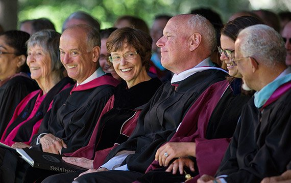 David Singleton '68 (fourth from right) read from Edward Parrish's 1869 convocation remarks