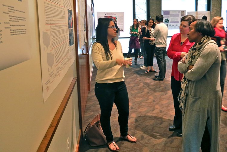 Seniors present to faculty and students at Spring 2015 senior poster session
