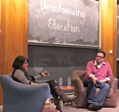 Discussion between Edwin Mayorga and Sandy Grande on the process of decolonizing the educational system. Sponsored by Native American Student Association.