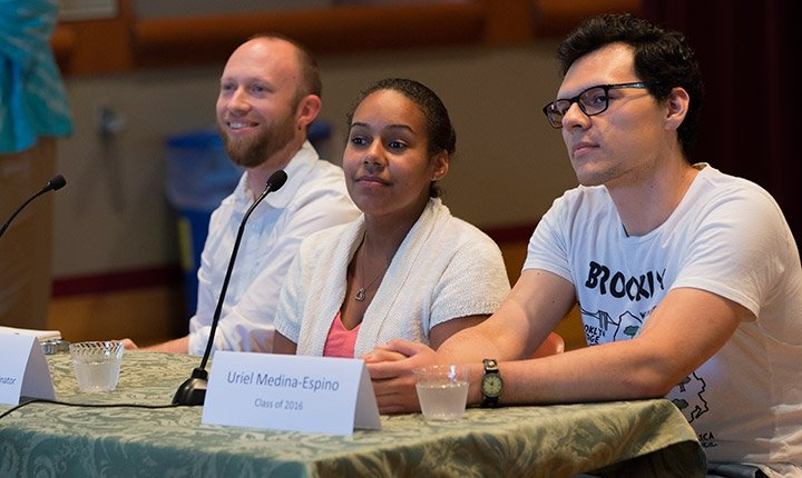 First-generation students, staff, and alumni take part on a panel during a reception for First in Family students.