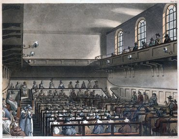 Colored print of meeting for Worship at Grace Church Street Meeting in London in the 19th century