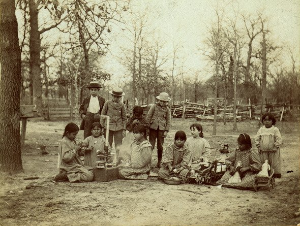 Photograph of children in Kickapoo Village in Oklahoma about 1890