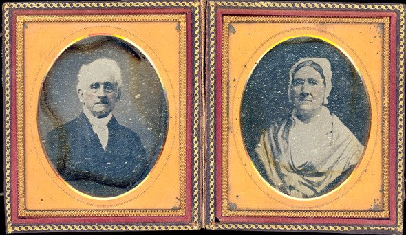 Daguerreotype of Mary S. and Isaac Lippincott from about 1855