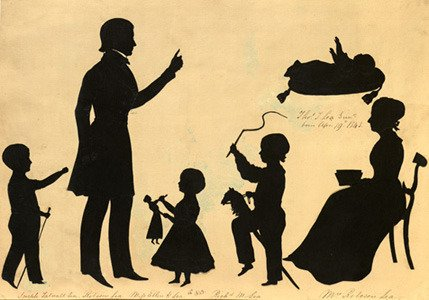 Silhouette of members of the Lea family by Auguste Edouarte, 1847