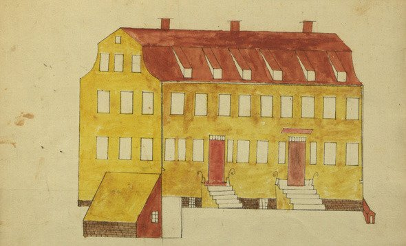 Watercolor of Nine Partners School House by Jonathan Thorn, 1816