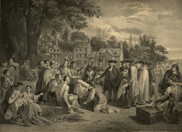 Engraving of Benjamin West's 1771 painting of William Penn's Treaty with the Indians